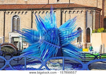 MURANO, ITALY - OCTOBER 12, 2016: The Famous Blue Glass Sculpture Display by Simone Cenedes in Murano Island located in the Venetian Laguna