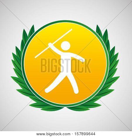 javelin throw symbol label laurel wreaths vector illustration eps 10