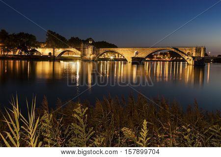 Pont Saint-Benezet on Rhone River in Avignon. Avignon Provence-Alpes-Cote d'Azur France.