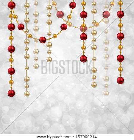 Hanging garland beads vector background. Christmas card template with garland