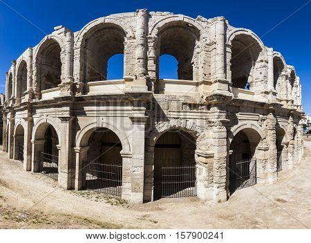 Arles Roman Amphitheatre. Arles Provence-Alpes-Cote d'Azur France.