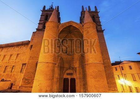 Montpellier Cathedral at sunset. Montpellier Occitanie France.
