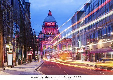 Illuminated Belfast City Hall. Belfast Northern Ireland United Kingdom.