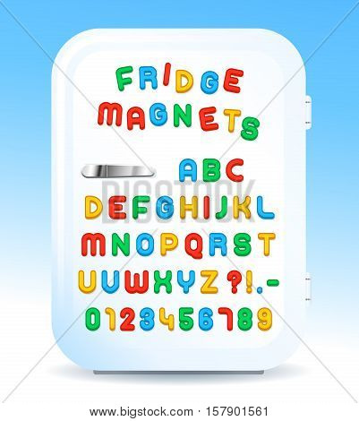 Colorful magnetic alphabet letters on refrigerator door vector illustration