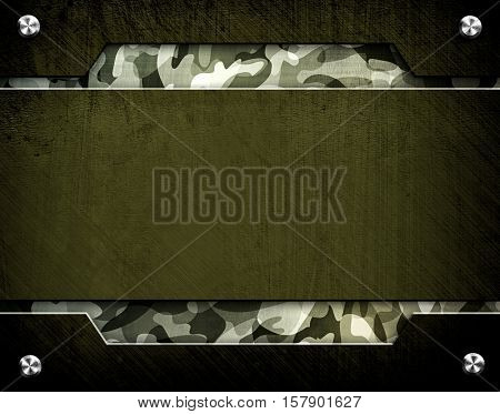 metal template with army pattern background