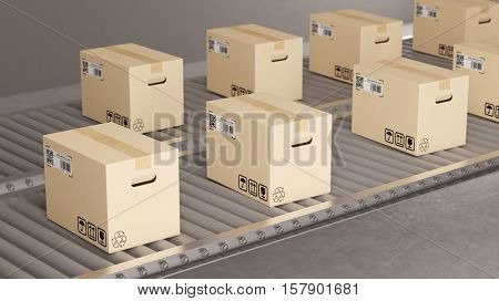 Many parcel packages on conveyor belt in fabric (3D Rendering)