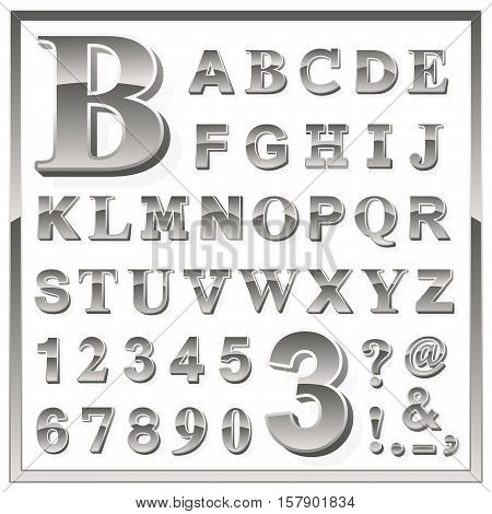 Complete upper case set of greyscale metallic numbers and alphabet letters with additional punctuation ampersand exclamation and question marks in a square frame vector illustration