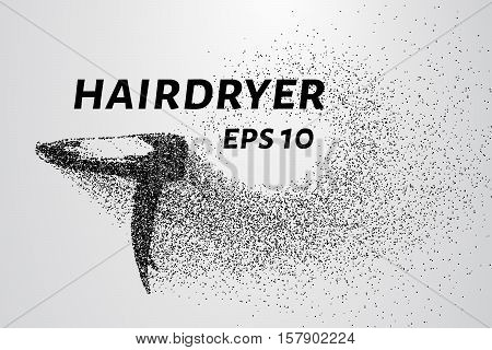 The hair dryer particles. The dryer consists of circles and points. Vector illustration.