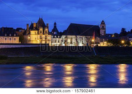 Amboise panorama at night. Amboise Pays de la Loire France