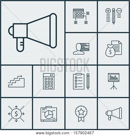 Set Of Project Management Icons On Report, Growth And Present Badge Topics. Editable Vector Illustra