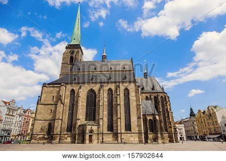 St. Bartholomew Cathedral in Pilsen. Pilsen Czech Republic.