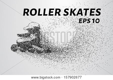 Roller skates of the particles. Roller skates consist of circles and dots. Vector illustration.
