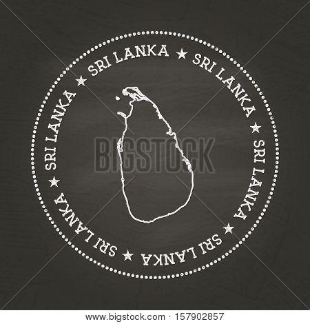 White Chalk Texture Vintage Seal With Democratic Socialist Republic Of Sri Lanka Map On A School Bla
