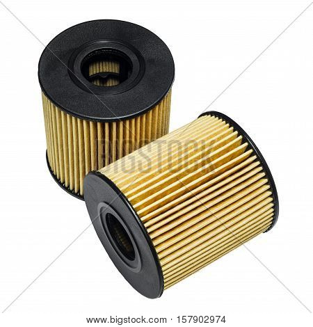 Cleaning the oil filter systems in motor vehicles on a white background