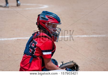 American youth baseball catcher looking at coach for signals.