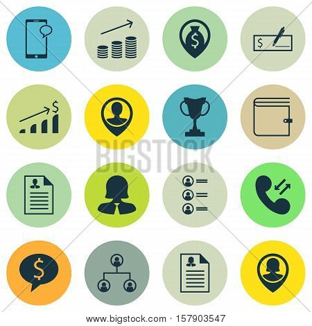 Set Of Human Resources Icons On Messaging, Coins Growth And Successful Investment Topics. Editable V