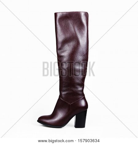 Sandy brown high boot isolated on white background