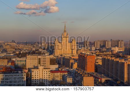 Residential building on square Kudrinskaya (Stalin skyscraper) during sunset in Moscow, Russia