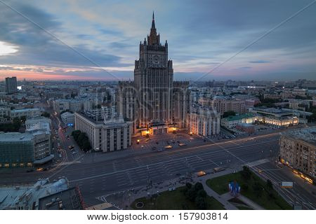 Ministry of Foreign Affairs building (Stalin skyscraper) during morning in Moscow, Russia