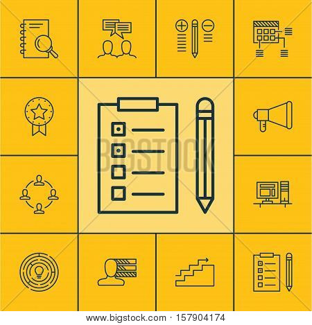 Set Of Project Management Icons On Computer, Decision Making And Innovation Topics. Editable Vector