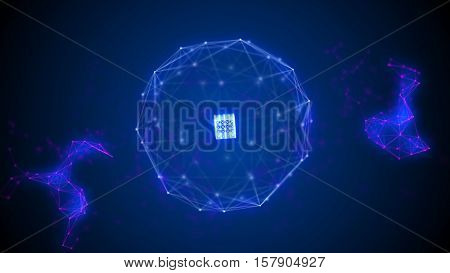 Blue plexus sphere with a blue cube in its center. Plexus particles around. Abstract science, technology and engineering background illustration. Depth of field settings. 3D rendering.