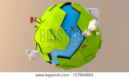 Illustration of a 3D low poly fantasy Earth planet with earth, water, clouds, snow, mountains, houses and trees on it. 3D rendering.