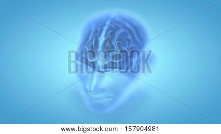 Transparent human male head with visible brain in 3d space. Blue abstract futuristic medicine, science and technology background illustration. Depth of field settings. 3D rendering.