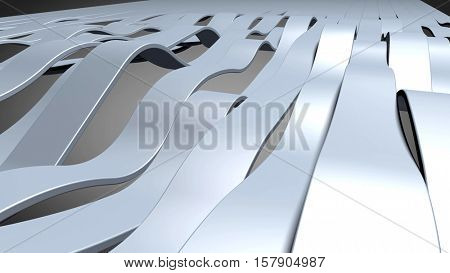 Blue metallic bands waving. Abstract technology, industry and engineering background illustration. 3d rendering.