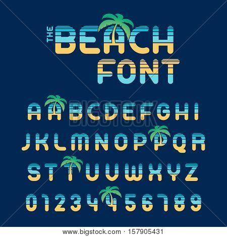 Complete beach alphabet letters and numbers font in yellow and blue with tropical palm trees conceptual of a summer vacation and travel vector illustration