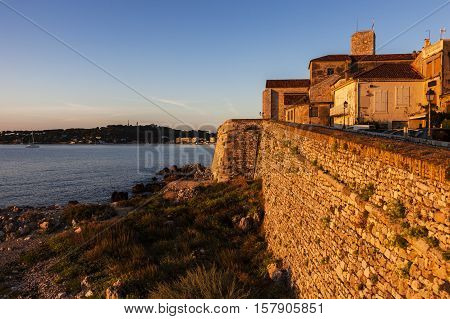Old walls of Antibes. Antibes Provence-Alpes-Cote d'Azur France.