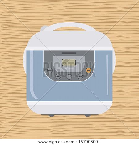 Electronic crock pot with display on a wooden background. Kitchen device. Cooking equipment. Vector flat illustration