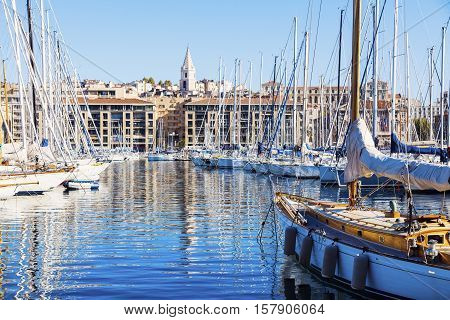 Vieux port - Old Port in Marseille. Marseille Provence-Alpes-Cote d'Azur France.