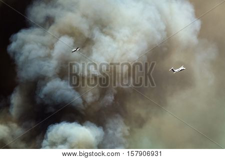 Aircraft Flying Through the Dense White Smoke Rising from the Raging Wildfire