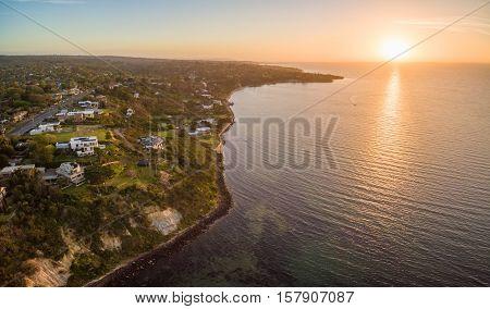 Aerial Panorama Of Mornington Peninsula Coastline Near Olivers Hill At Beautiful Sunset, Australia