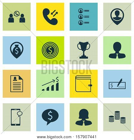 Set Of Human Resources Icons On Business Goal, Money And Tournament Topics. Editable Vector Illustra