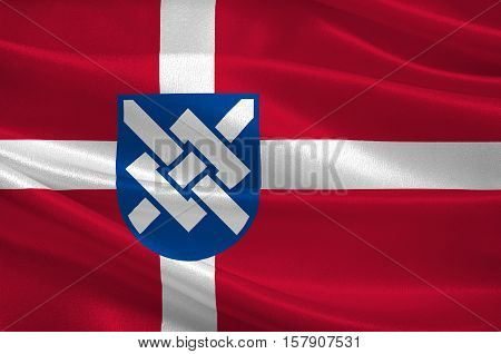 Flag of Greve is a municipality in Denmark in Region Sjælland on the island of Zealand. 3d illustration