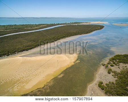Aerial View Of Rhyll Inlet And The Ocean. Phillip Island, Australia