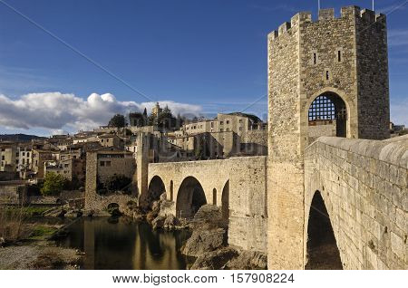 medieval bridge an village of Besalú in La Garrotxa Girona Spain