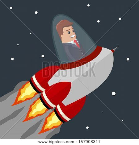Vector busines man. Flat illustration. Rocket flying into space. Start-up from the earth. Happy manager character flying on the rocket to the success.