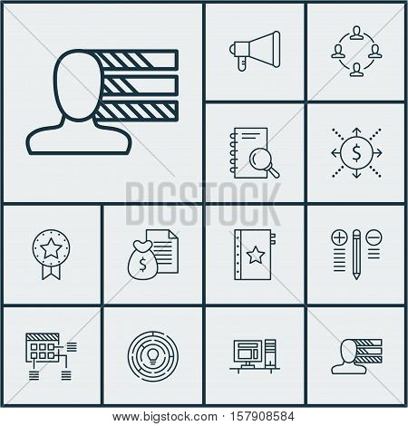 Set Of Project Management Icons On Report, Analysis And Schedule Topics. Editable Vector Illustratio