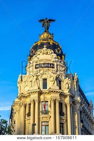 The Edificio Metropolis, a historic building in Madrid - Spain poster