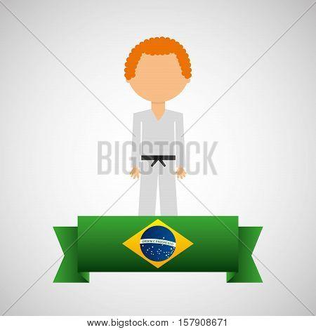 cartoon taekwondo player brazilian label vector illustration eps 10