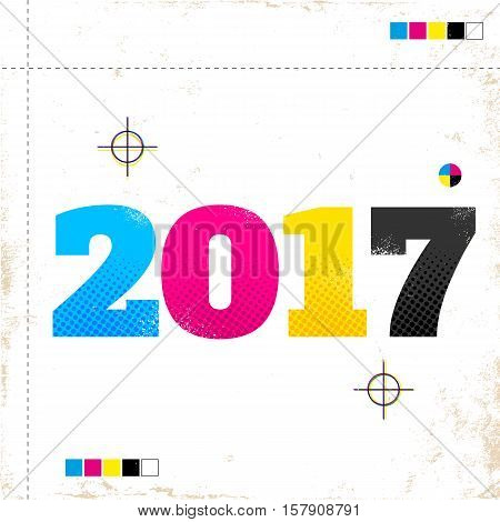 Vector vintage poster with 2017 in CMYK style
