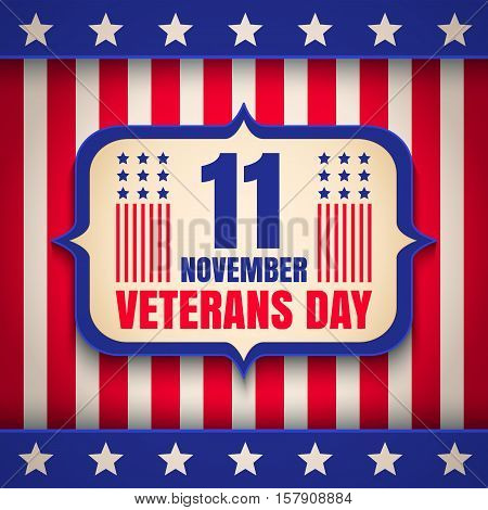 Vintage vector poster for USA Veterans day