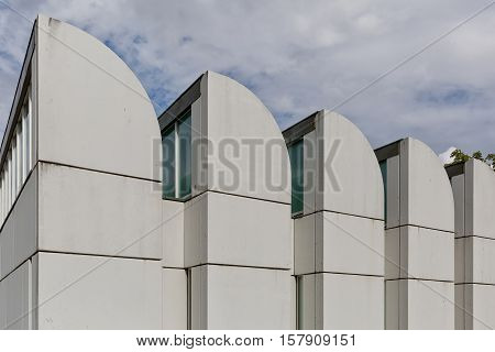 BERLIN GERMANY - JULY 2015: The Bauhaus Archiv in Berlin Germany is a museum of the Bauhaus designed by its own founder architect Walter Gropius. It displays art pieces items documents and literature related to the Bauhaus School.