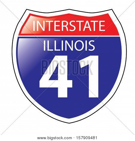 Layered artwork of Illinois I-41 Interstate Sign