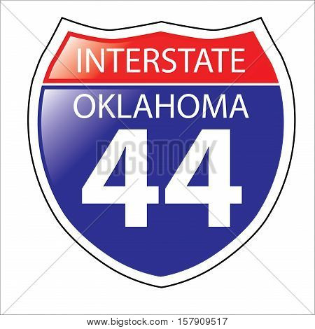 Layered artwork of Oklahoma I-44 Interstate Sign