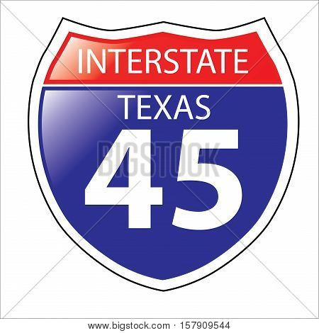 Layered artwork of Texas I-45 Interstate Sign