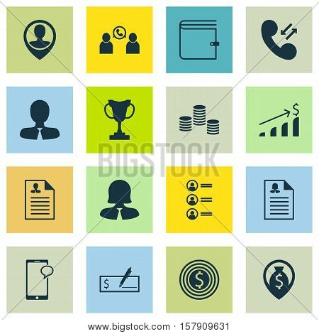 Set Of Human Resources Icons On Messaging, Employee Location And Wallet Topics. Editable Vector Illu