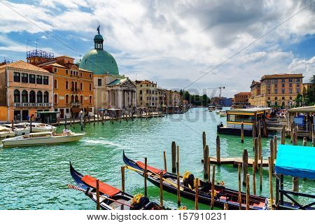 Beautiful View Of The Grand Canal With Gondolas In Venice, Italy